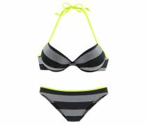 Push-up-Bikini neongelb / grau / schwarz