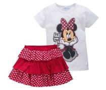 Shirt & Rock mit Rüschen (Set 2-tlg.) für Mädchen rot / weiß