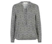 Bluse mit All Over-Print grau