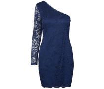 Kleid mit langen Ärmeln Off-Shoulder-Spitzen- blau