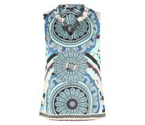Blusenshirt im Allover-Muster türkis / weiß