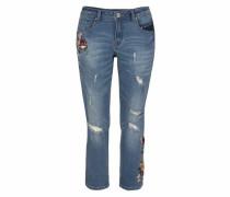 Boyfriend-Jeans 'flower' blue denim