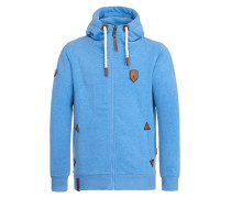 Male Zipped Hoody Schwarzkopf blau