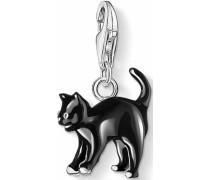 Charm-Einhänger 'Katze 0701-007-11' schwarz / silber / weiß