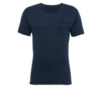 T-Shirt in Flammgarn-Optik 'Teo' dunkelblau