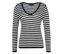 Gestrickter Pullover mit Streifen schwarz