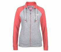 Shirtjacke graumeliert / koralle / weiß