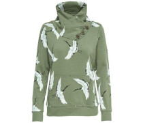 Print-Sweatshirt grün / weiß