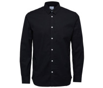 Slim-Fit-Langarmhemd schwarz