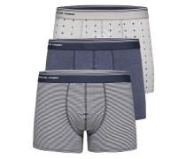 Boxershorts 3er-Pack taubenblau / grau