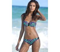 Bügel-Bandeau-Bikini gelb / smaragd / lila