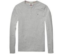 T-Shirt (langarm) 'thdm Basic Henley Knit L/S 6' graumeliert