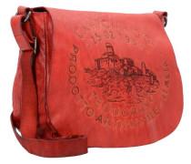 Bandoliera Schultertasche Leder 28 cm orangerot