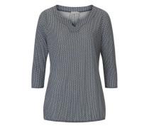 Shirt mit Dreiviertelarm taubenblau / weiß