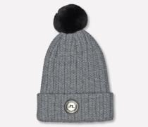 Fell-Wollmix-Mütze grau