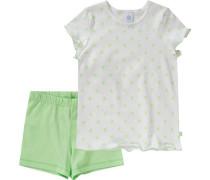 Schlafanzug für Mädchen pastellgrün / weiß
