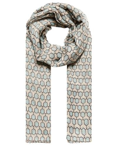 Halstuch mit Waben-Print beige / blau