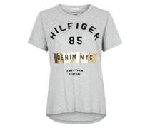 T-Shirt mit Print graumeliert