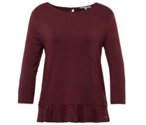 Shirt mit Volant-Saum burgunder