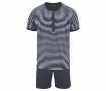 Pyjama kurz Shorty grau / anthrazit