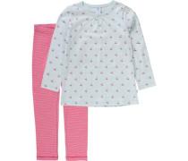 Schlafanzug für Mädchen hellblau / hellrot