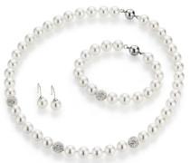 Schmuckset: Collier Armband und Paar Ohrhaken mit Perle und Kristallsteine silber / weiß