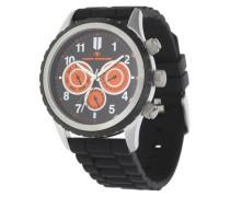 Armbanduhr orange / schwarz / silber