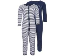 Druckknopf-Schlafanzug 2er-Pack dunkelblau / weiß