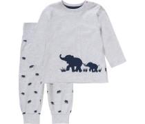 Baby Schlafanzug für Jungen dunkelblau / graumeliert