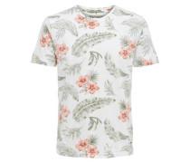 Bedrucktes T-Shirt hellgrün / dunkelorange / weiß