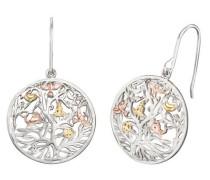 Paar Ohrhaken 'Lebensbaum Ere-Tree-Trico' gold / silber