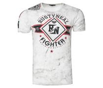 T-Shirt Crewneck mit coolem Print weiß
