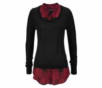 2-in-1-Pullover rot / schwarz