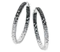 Ohrschmuck: Paar Creolen 'black&white' mit Kristallsteinen silber
