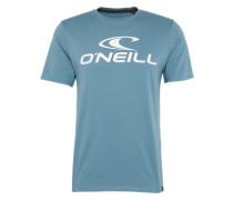 T-Shirt 'LM ' rauchblau / weiß