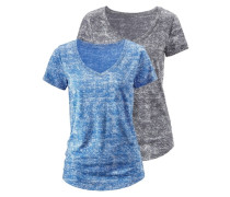 Shirt mit V-Ausschnitt (2 Stück) blau / grau / schwarz
