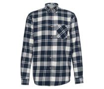 Casualhemd 'sporty checked shirt' dunkelblau / weiß