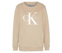 Sweatshirt taupe / hellgrau / weiß