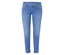 'Cher' Schmale Jeans mit Ankle-Zipper blau