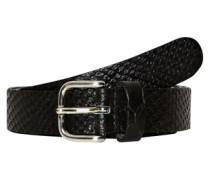Ledergürtel mit Snake-Prägung schwarz