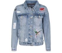 Jeansjacke mit bunten Aufnähern