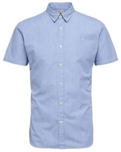 Slim Fit-Kurzarmhemd blau / weiß
