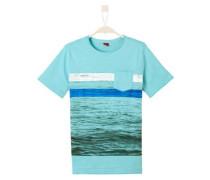 T-Shirt mit Fotoprint türkis / cyanblau / weiß