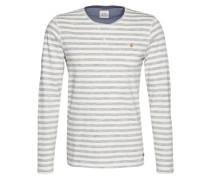 Gestreiftes Langarmshirt grau / weiß