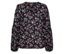 Bluse mit Rosendruck und Ballonärmeln mischfarben / schwarz