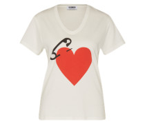 T-Shirt 'Mc-Coeur Epingle' rot / weiß