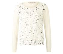Pullover mit Punkten und Stickereien auf der Front creme / schwarz