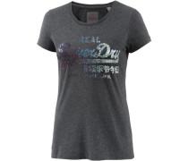 T-Shirt Damen schwarzmeliert