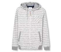 Kapuzensweatjacke 'slub stripe zip' graumeliert / weiß