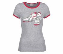 T-Shirt graumeliert / karminrot / weiß